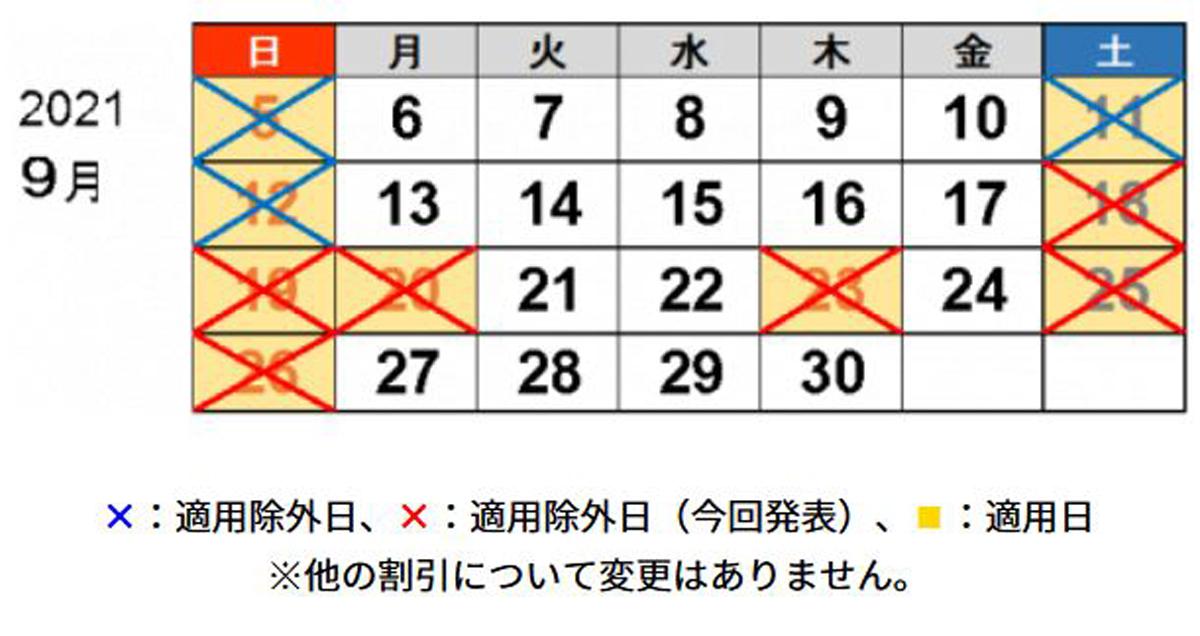 2021年9月26日までの土日祝日について、休日割引を適用しない