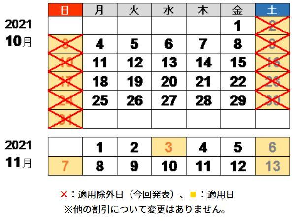 2021年10月31日までの土日祝日について、休日割引を適用しない